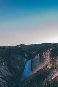 Yellowstone Falls at Night