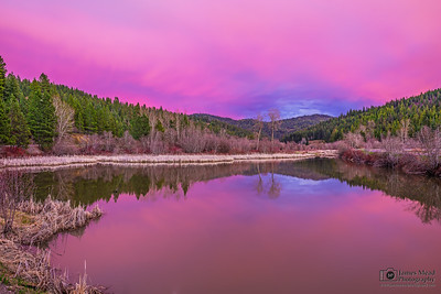 """Looking Glass,"" Sunset over a Wetlands Pond, Northern Idaho"
