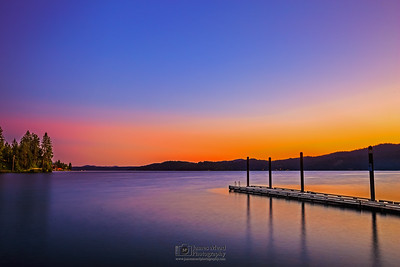 """Serene Waters,"" Sunset on Lake Coeur d'Alene, Harrison, Idaho"