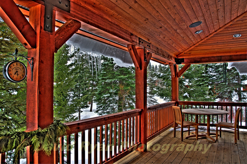 Tamarack Lodge, Winter View from the Back Porch of a Cottage