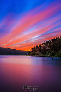 """Skyway,"" Alpenglow over Lake Coeur d'Alene at Dusk, Harrison, Idaho"