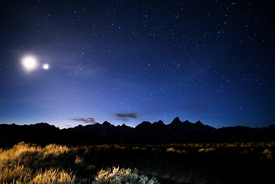 Grand Tetons with Jupiter and the Moon