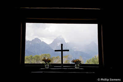 Tetons from inside the Episcopal chapel (still in use)