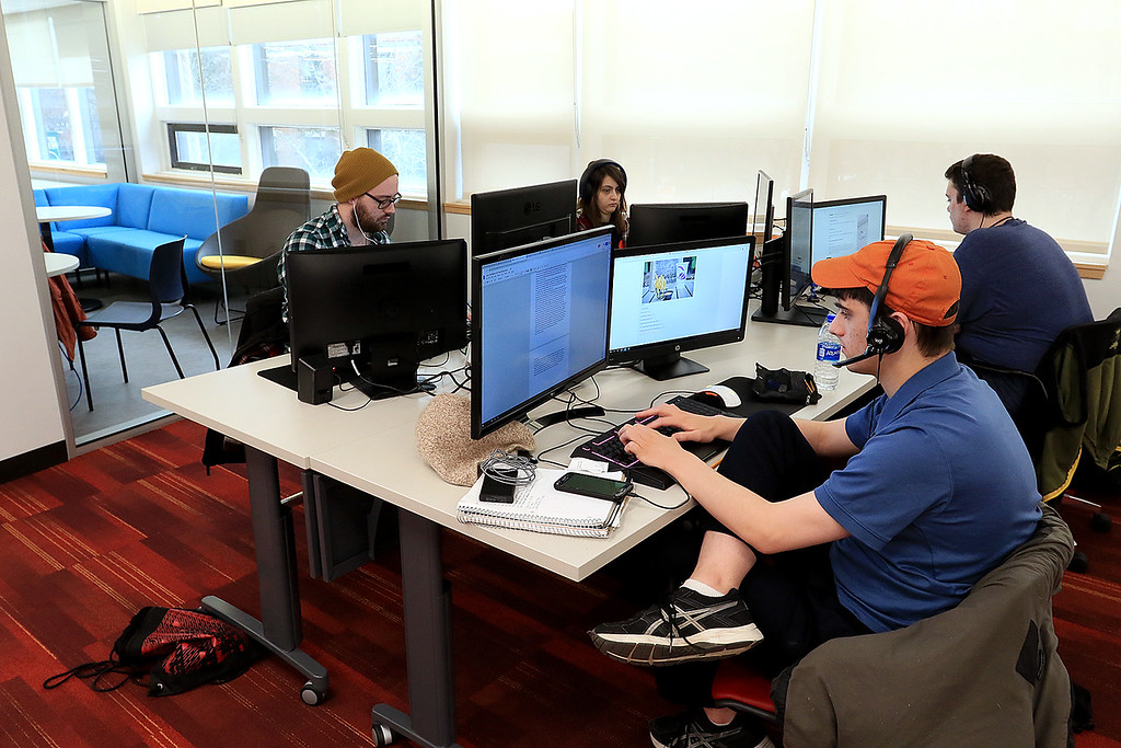 . Fitchburg States University IdeaLab at the Theater Block on Main Street held it\'s ribbon cutting on Tuesday January 29, 2019. Students work in the Game Studio Capstone Course at the IdeaLab after the ribbon cutting. SENTINEL & ENTERPRISE/JOHN LOVE