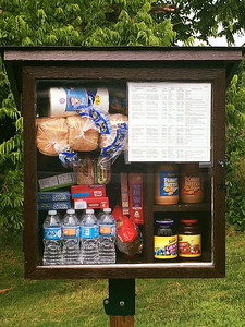 Create a Little Panty in front of your church or a park (you might not want to do this in front of your house as you might get people knocking on your doors at all hours seeking a handout). http://BoredPanda.com/free-little-pantry-feed-homeless-poor-jessica-mcclard