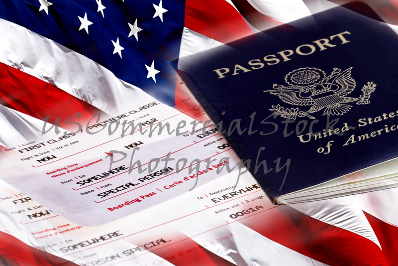American Flag with US Passport and Boarding Passes