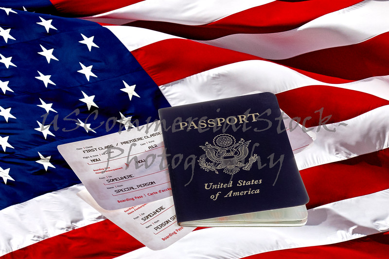 US Passport, Boarding Passes and American Flag