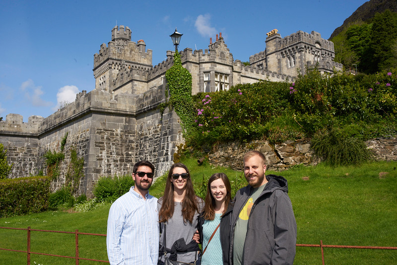 A quick group picture at Kylemore Abbey.<br /> <br /> When the King of England visited Kylemore, he was thinking that it might be the perfect location for a royal retreat.  It is said that once he was at the abbey, he concluded that the cost of maintaining such an estate would be much too expensive for a king.