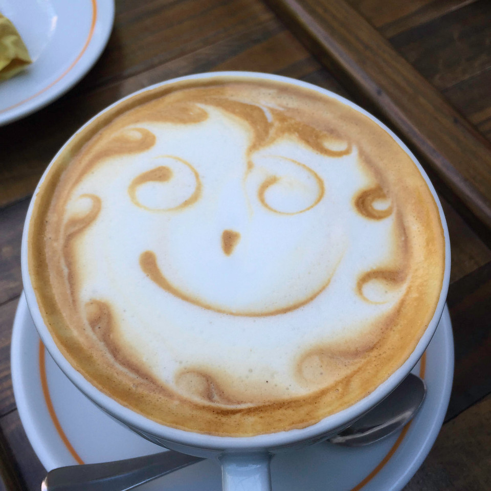 ...and smily faces.  <br /> <br /> Certainly we are partaking from among the upper echelon of coffee purveyors.