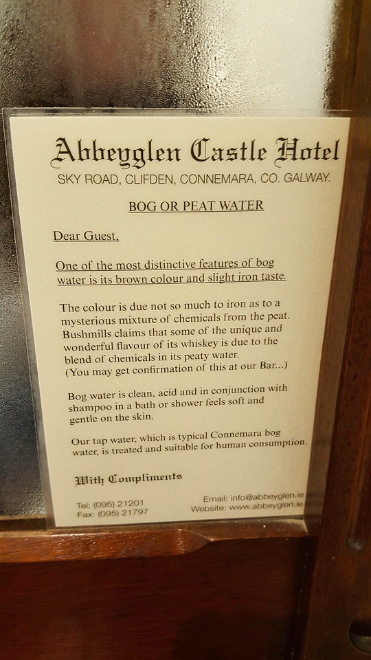 The Abbeyglen Castle Hotel had a very interesting sign in all of the bathrooms.<br /> <br /> Just in case you were wondering....