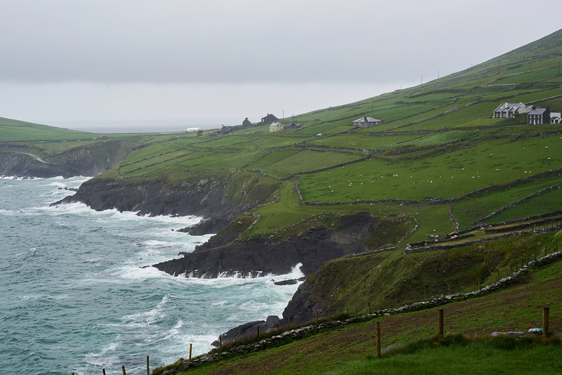 The farms and pastures stretch all they way to the cliffs and the edge of the ocean.