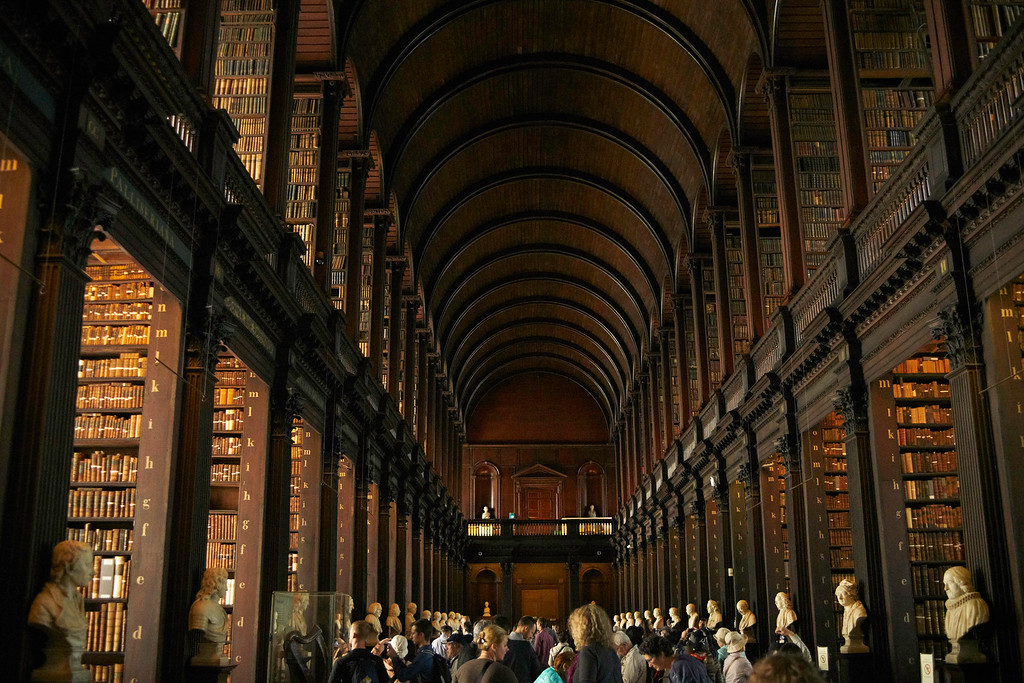 The Long Room in the Old Library of Trinity College is one of the iconic photos of Dublin.  It was a terrific building and had a little of a Harry Potter feel to it.  It seemed reasonable to expect a fire breathing dragon to make his way into the Library