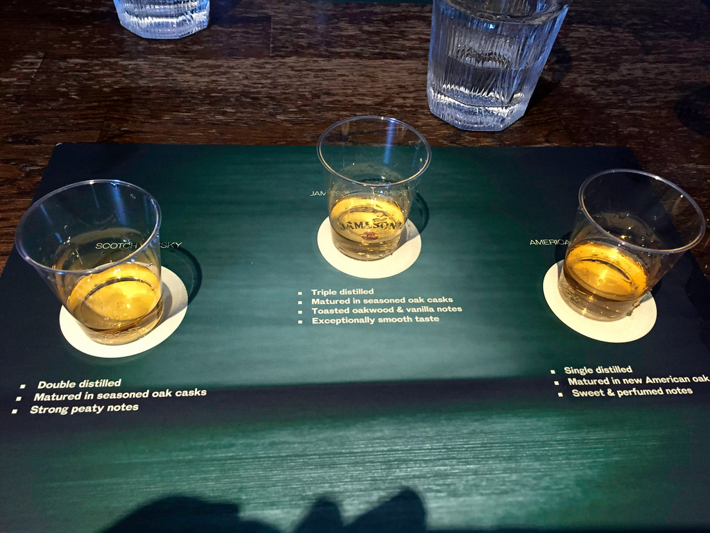 The Jameson tour includes an interesting comparison of different whiskeys.