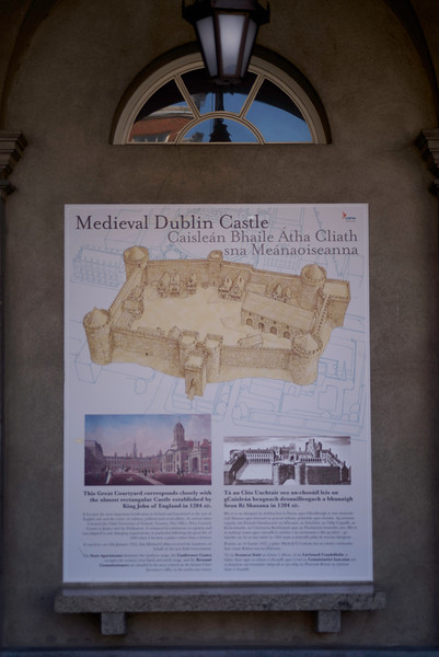When the English invades Ireland, one of the first priorities was to build castles as a show of power and control.  Dublin Castle was founded by King John in 1204.  Most of the structure was rebuilt in the 18th century