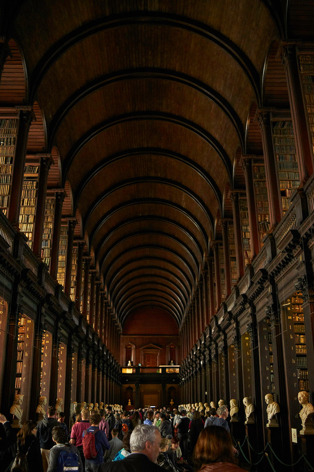 The Long Room in the Old Library at Trinity College in Dublin is really a spectacle.  You almost expect to be interrupted by a dragon or some amazing creature flying through.  It  is an awesome room.