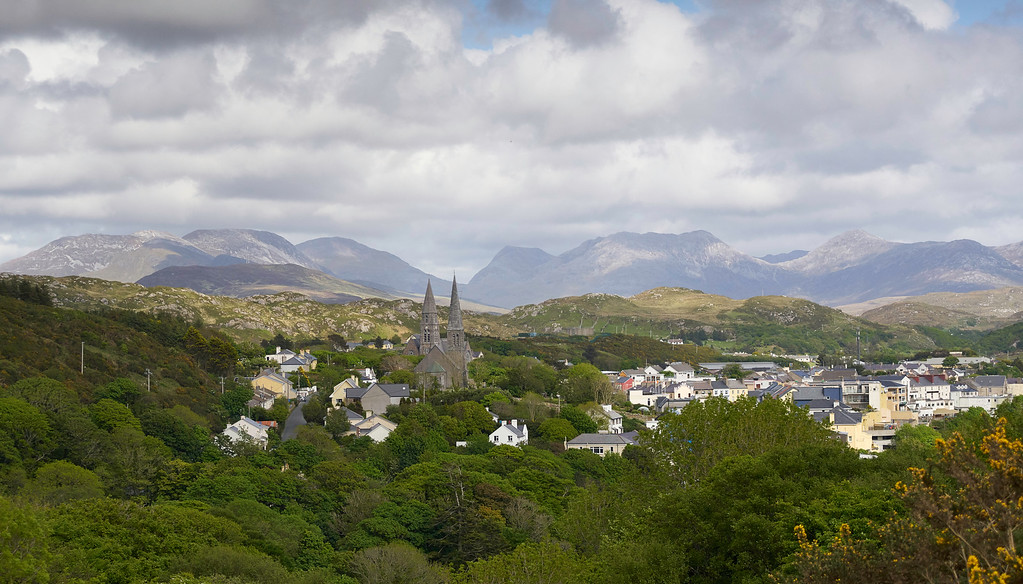 Clifden is a beautiful town and the Twelve Bens of the Connemara behind it made a perfect backdrop to the Connemara for us.  It was a beautiful little town to photograph from this hill west of the city.