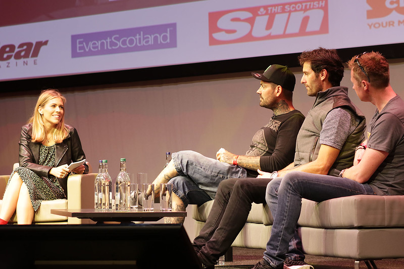 Nicki Shields with Shane Lynch, Mark Webber and Gordon Shedden