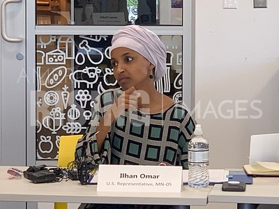 Ilhan Omar Attends Food Systems Discussion At North Market In Minneapolis, MN