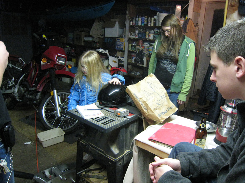 Hanging out in Uncle Rich's shop with Amanda