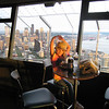 Chocolate chip cookies and a drink in the Space Needle at sunset