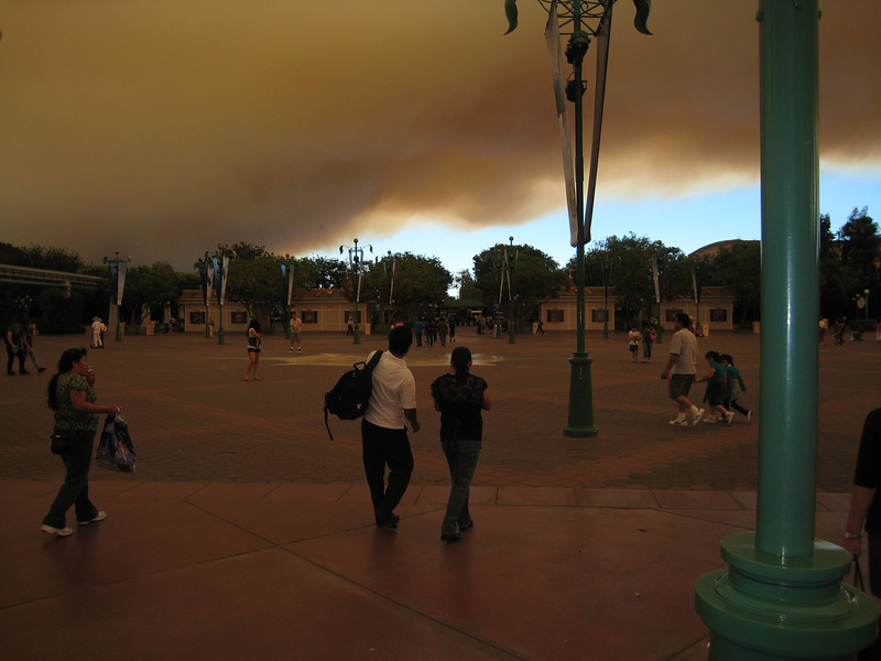 Here you can see the contrast between the blue sky beyond the fire and the clouds covering us.