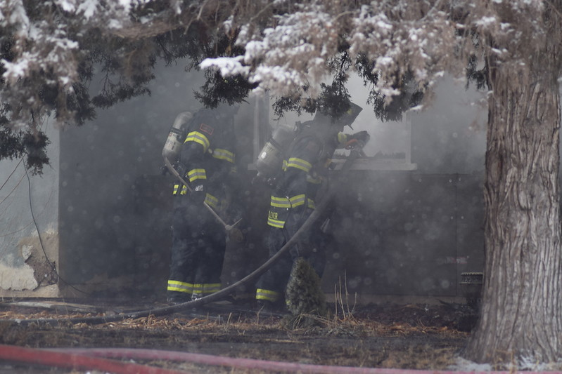 Firefighters on scene at a house fire in Iliff Thursday morning, Feb. 1, 2018.