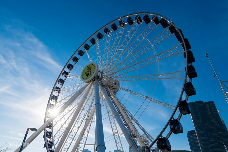 A Illinois Bicentennial logo adorns the Ferris wheel at Navy Pier. Photo: Mattt Difanis.