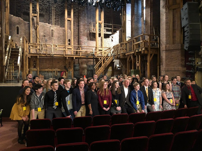 Student winners of an Illinois Bicentennial Commission video contest pose before a performance of Hamilton at the CIBC Theater in Chicago. Photo Ann Londrigan.