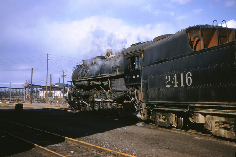 ICRR 20 - Mar 6 1955 - 4 8 2 No 2416 arriving in roundhouse from Carbondale - E  St Louis MO