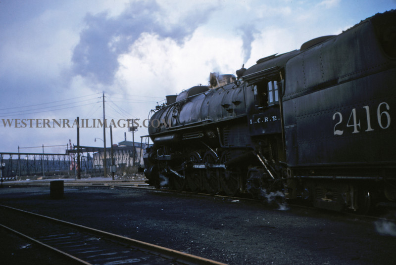 ICRR 19 - Mar 6 1955 - No 2416 4-8-4 arriving at roundhouse in from Carbondale - East St Louis ILL