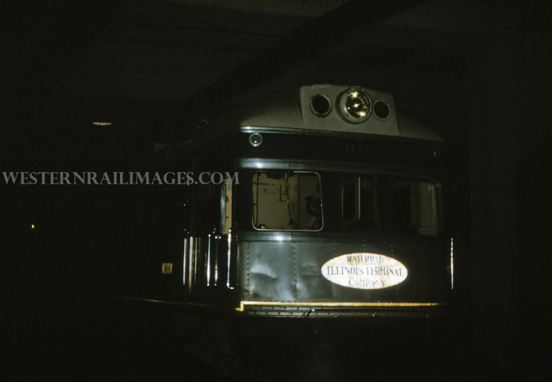 ITS 134 - Mar 3 1956 - motor 301 ready to leave terminal on last ITS electric run to Springfield Ill - St Louis MO
