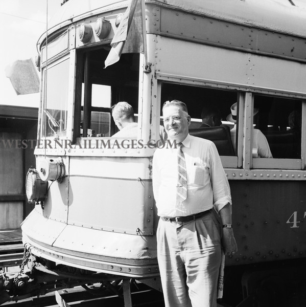 ITS 369 bw- June 21 1958 - J Orville Spreen @ Car 473 on last day of operation at broadway station St Louis MO