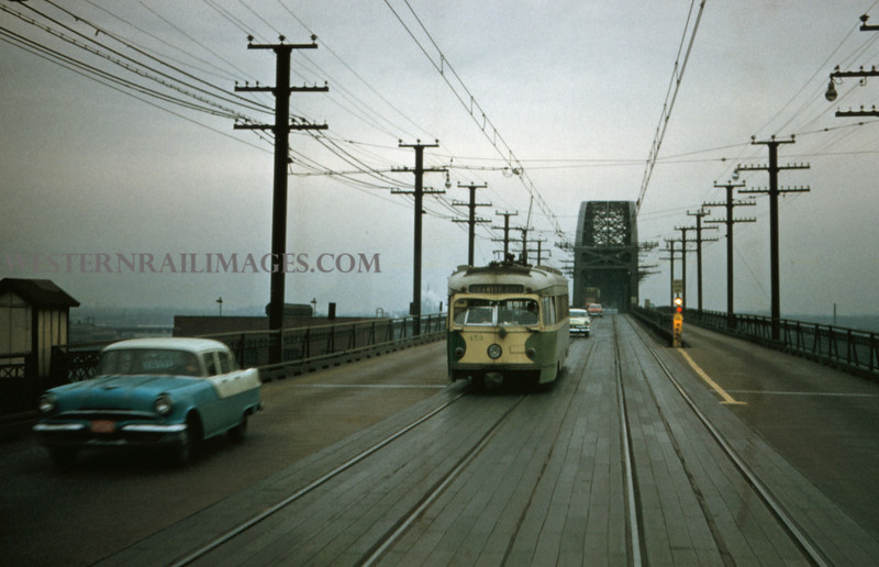 ITS 208 - Feb 22 1957 - PCC car 452 on Illinois side of McKinley Bridge