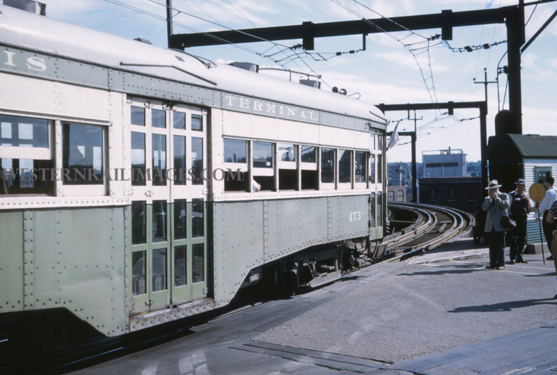 ITS 229 - Jun 21 1958 - Car 473 on fantrip @ west end of McKinley Bridge - St Louis MO