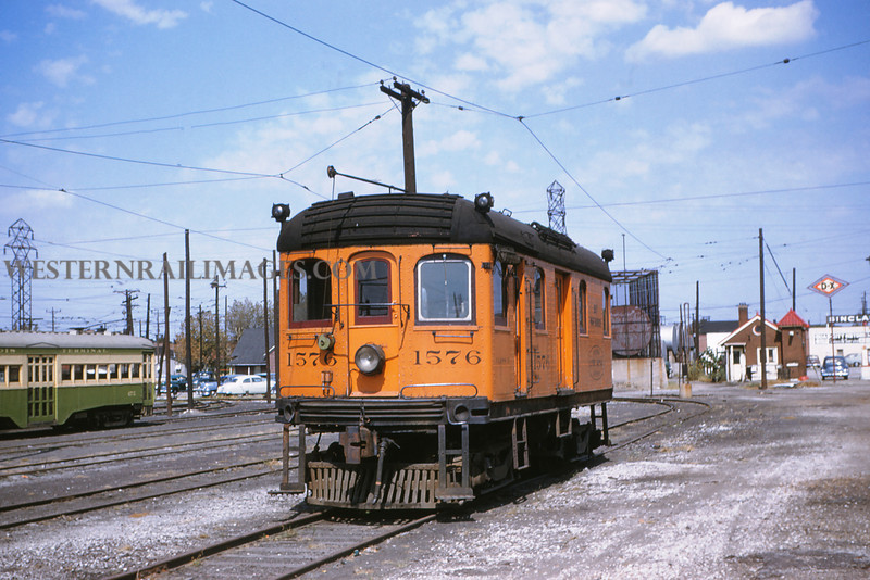 ITS 2 - Sep 19 1954 - Trolley 1576 at Granite City yards built by Illinois Traction Service Decatur Shops 1910