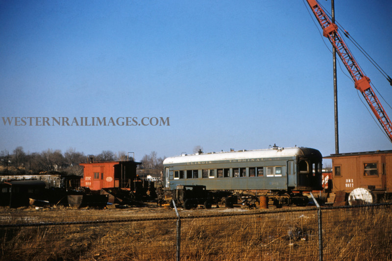 ITS 175 - Mar 20 1956 - Caboose 800 & car 202 in  scrap yard - Alton ILL