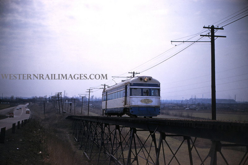 ITS 119 - Feb 22 1956 - Car 301on trestle north of Lang ILL