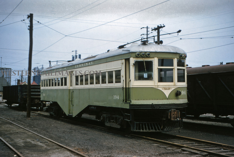 ITS 198 - May 1 1956 - Ex Alton car 104 @ Granite City yard ILL