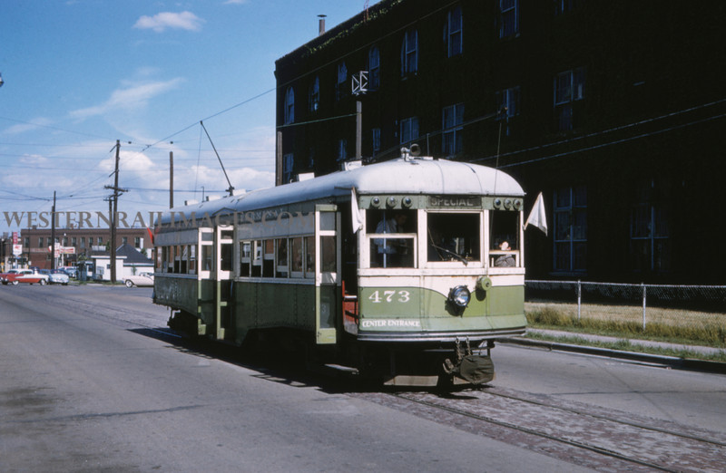 ITS 218 - Jun 21 1958 - car 473 on Niedringhaus Ave last day - Granite City ILL