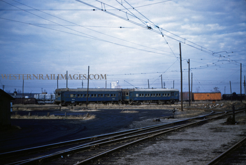 ITS 39 - Jan 2 1955 - Car 284 & trailer leaving Springfield for E Peoria ILL