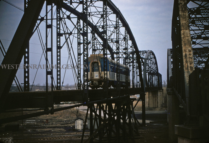 ITS 121 - Feb 22 1956 - car 301 northbound on bridge just north of Lang ILL
