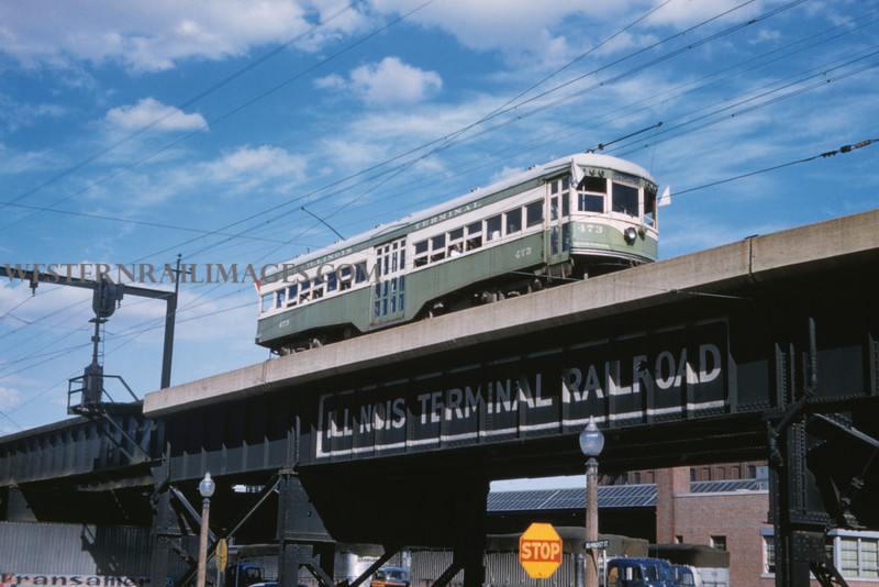 ITS 232 - Jun 21 1958 - Car 473 at broadway st overpass last day run - St Louis MO