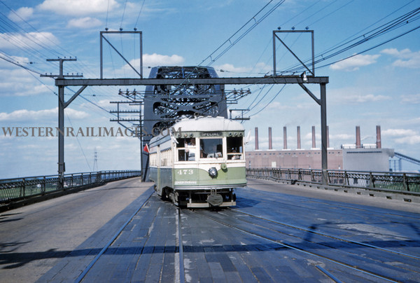 ITS 228 - Jun 21 1958 - Car 473 on fantrip @ west end of McKinley Bridge St Louis MO