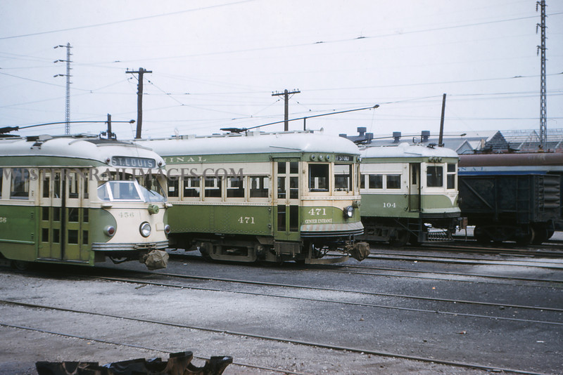 ITS 199 - May 1 1956 - PCC Granite City & Alton cars at Granite City ILL