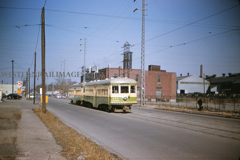 ITS 149 - Mar 9 1956 - Cars 470 & 473 on city line 17th street - Granite City ILL