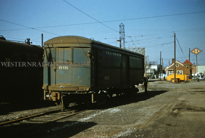 ITS 158 - Mar 9 1956 - baggage car 601 in yards at Granite City ILL