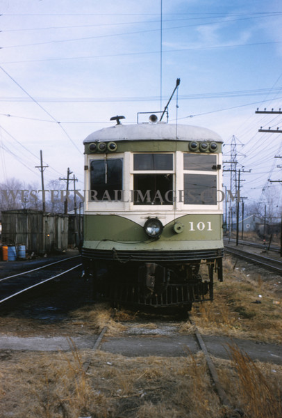 ITS 99 - Dec 28 1955 - Alton Line Car 101 stored at Edwardsville ILL