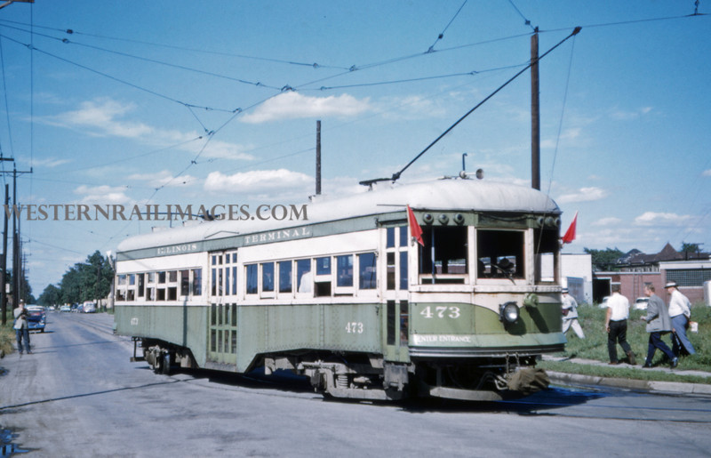 ITS 219 - Jun 21 1958 - Car 473 at end of line last day of operation - Granite City ILL