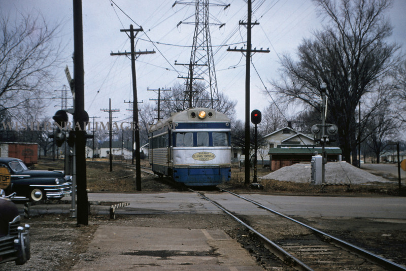 ITS 109 - Feb 19 1956 - car 301 arriving at Edwardsville ILL