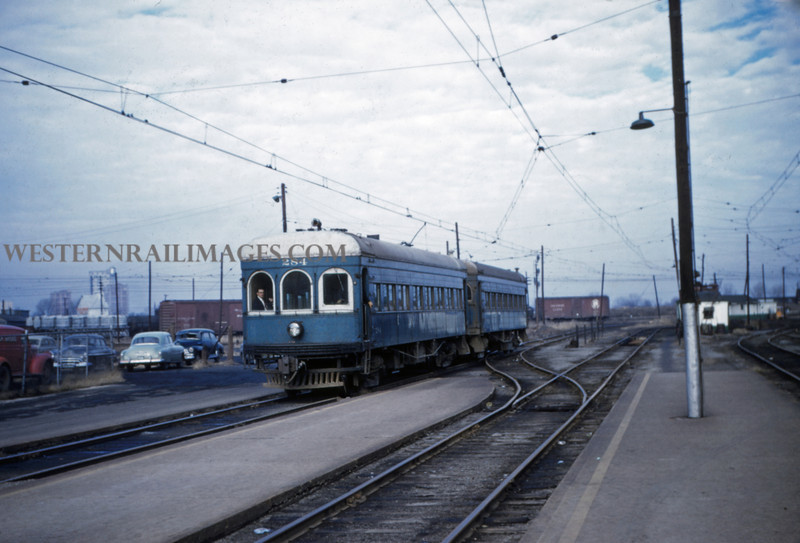 ITS 37 - Jan 2 1955 - car 283 & trailer leaving E Peoria from Springfield ILL